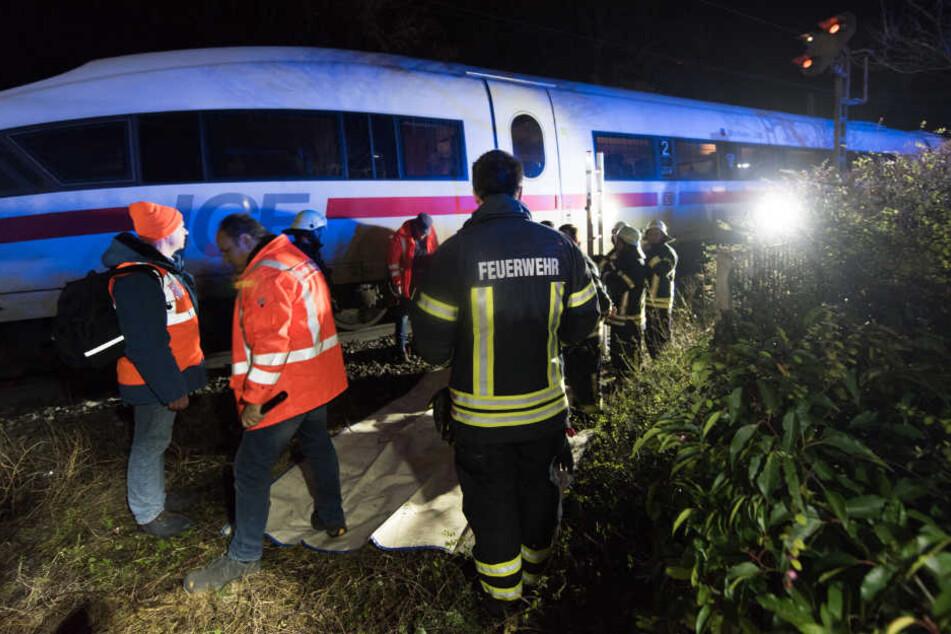 Ende der Fahrt: Der ICE steht, die Fahrgäste mussten aussteigen.