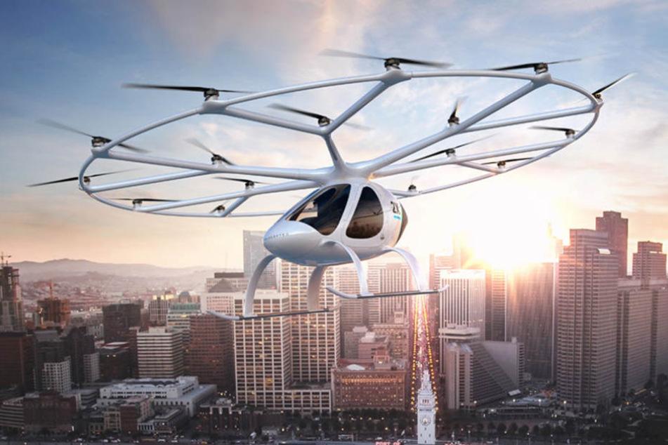 Das Lufttaxi der Firma Volocopter fliegt mehrere Minuten über Dubai. (Foto: Volocopter)