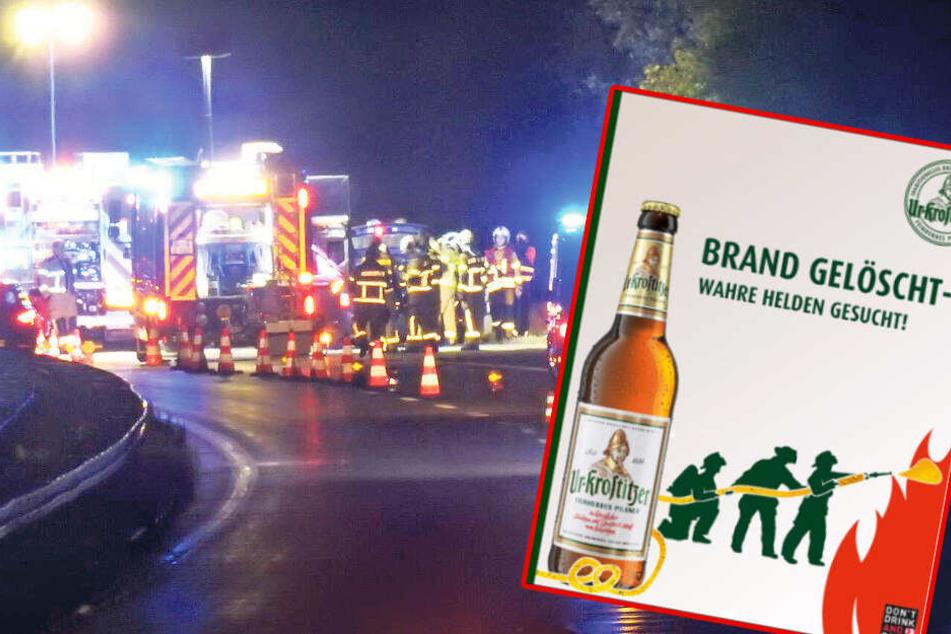 Männer löschen Autobrand mit Bier, jetzt sucht Brauerei nach ihnen