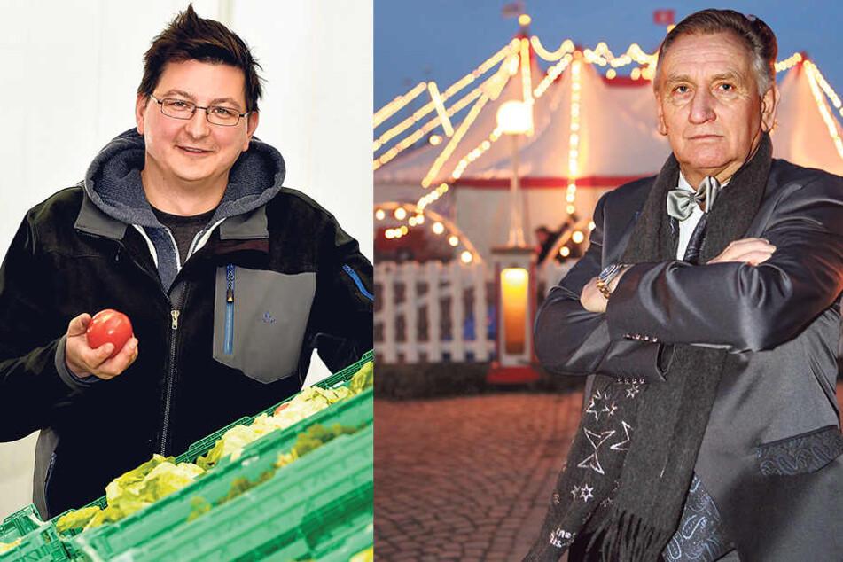 Tafel-Chef Andreas Schönherr (40, li.)  bei der eigentlichen Hauptaufgabe der Dresdner Tafel, der Essensverteilung. Die Tafel hat keine Tickets vom Dresdner Weihnachts-Circus bekommen.