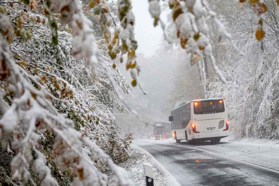 Im Taunus bei Frankfurt fiel am Dienstag der erste Schnee dieser Saison.