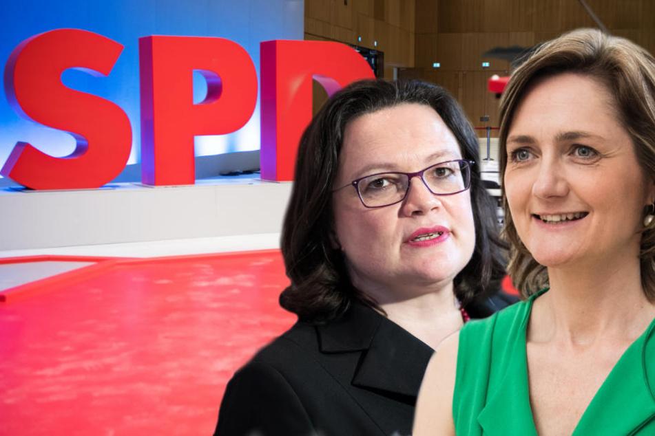 Andrea Nahles (l.) und Simone Lange konkurrieren um den Parteivorsitz der SPD.