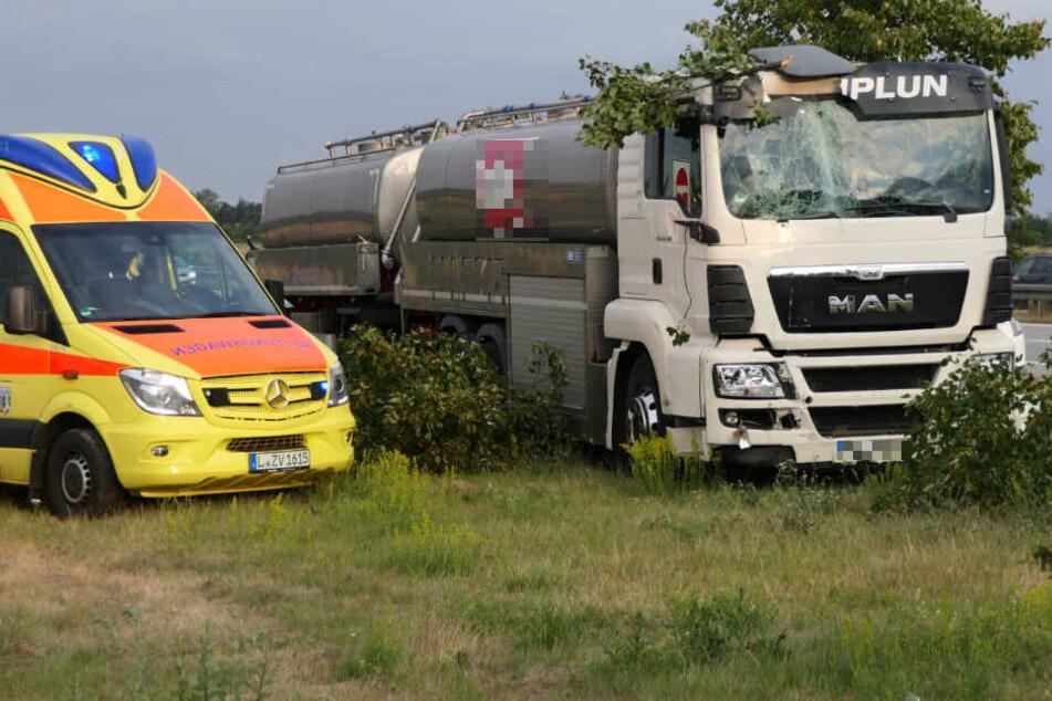 Milch-Laster senst auf A14 Verkehrsschilder und Bäume um