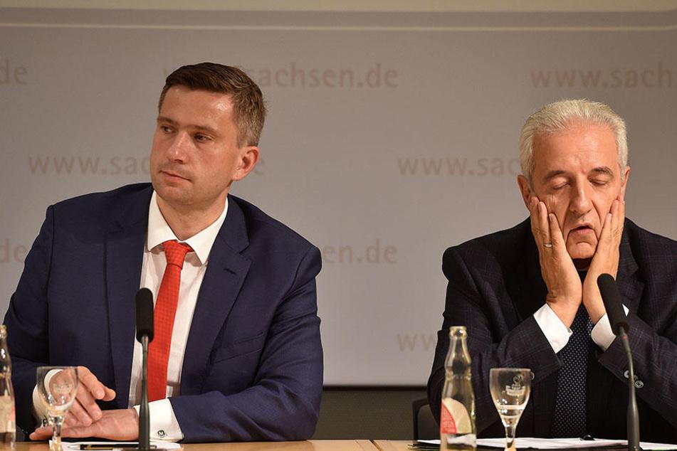 Katerstimmung nach der Wahl: Ministerpräsident Stanislaw Tillich (CDU) und Wirtschaftsminister Martin Dulig (SPD) stehen an der Spitze des Freistaats.