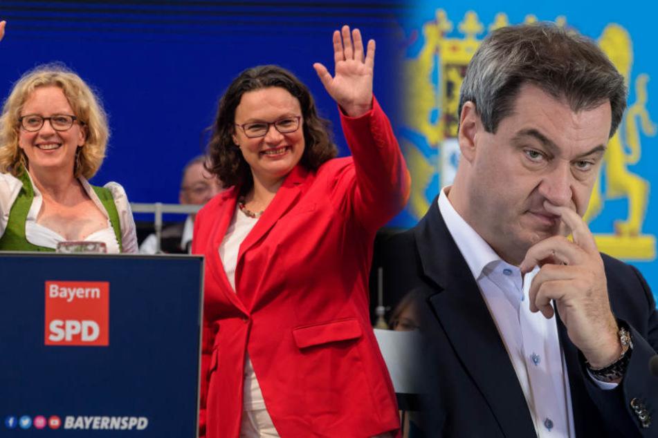 Natascha Kohnen (l-r), Andrea Nahles und Markus Söder geben nochmal alles im Wahlkampf-Endspurt. (Bildmontage)