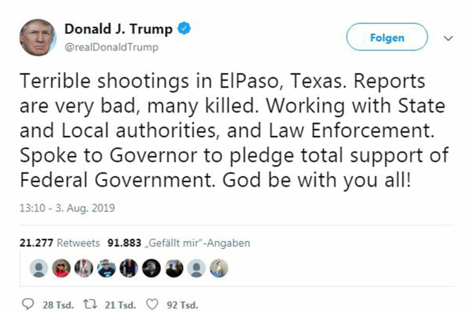 Auch der amerikanische Präsident, Donald Trump, meldete sich viaTwitter zu Wort und drückte seine Bestürzung aus.