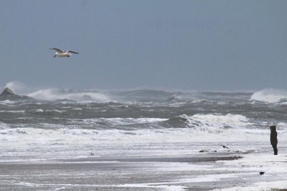 """Eine ungewöhnliche Serie von Sturmfluten in Folge von Sturmtief """"Sabine"""" machte den ostfriesischen Inseln und der niedersächsischen Nordseeküste auch am Mittwoch zu schaffen."""