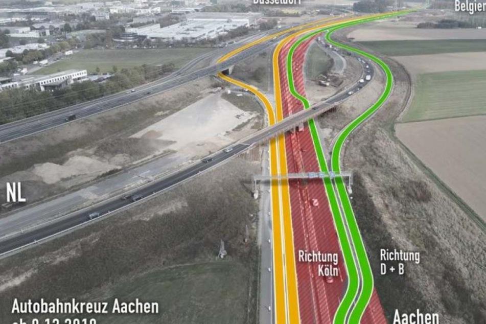 Das Autobahnkreuz Aachen wird bis 2021 großflächig umgebaut.