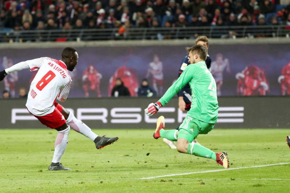 Beim letzten Aufeinandertreffen siegten die Sachsen im März 2:1. Hier erzielte Naby Keita den zwischenzeitlichen Ausgleich gegen Bayerns Sven Ulreich.