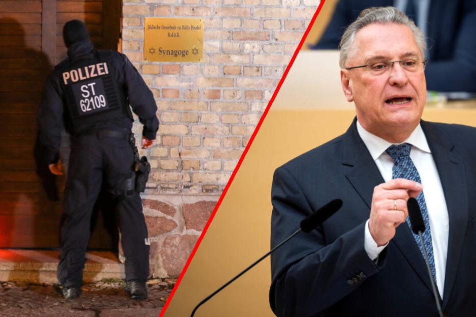 Joachim Herrmann (CSU), Bayerischer Innenminister, sieht die AfD in der Mitverantwortung für die Tat in Halle. (Bildmontage)