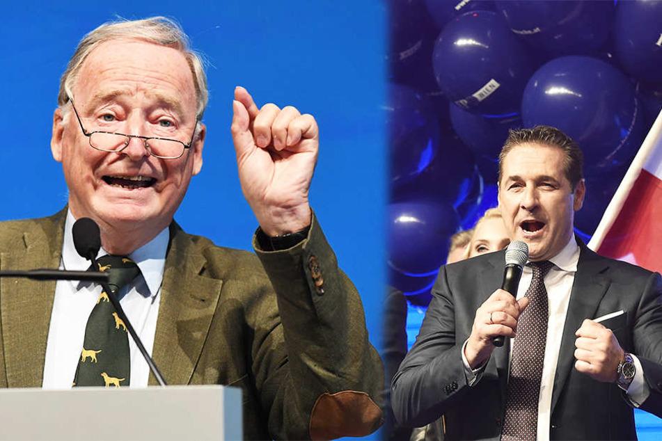 AfD-Vorsitzender Alexander Gauland (76) freut sich über den Wahlerfolg der FPÖ, rechts Kanzlerkandidat Heinz-Christian Strache (48).