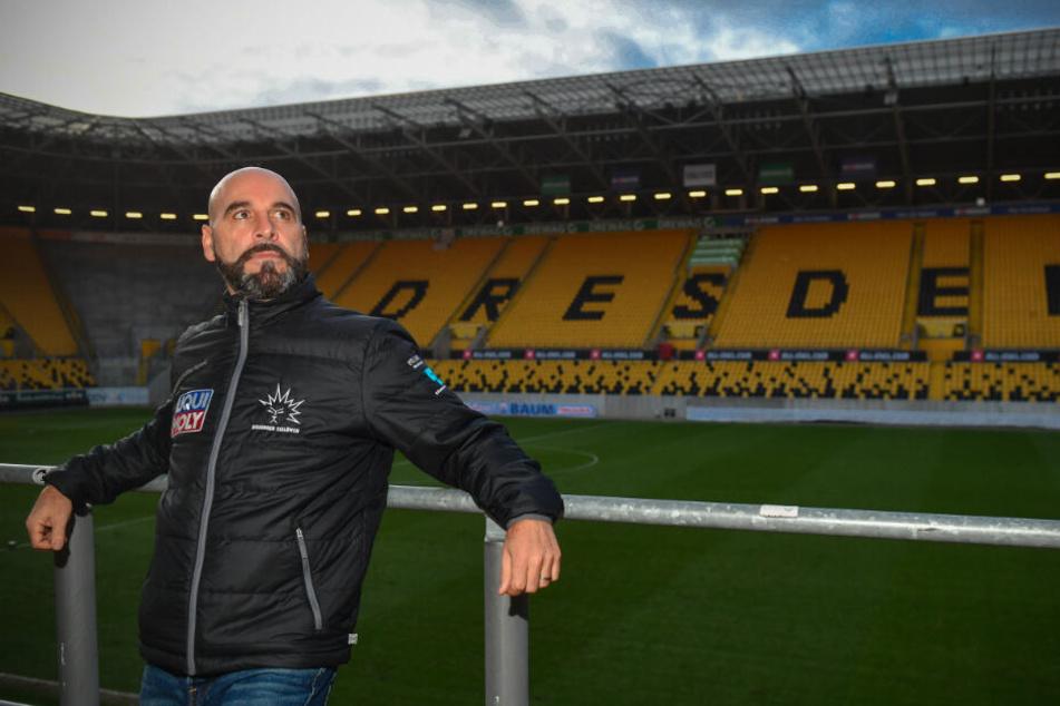 Coach Rico Rossi hat einen Traum. Er will am 4. Januar mit den Eislöwen im Rudolf-Harbig-Stadion als Sieger vom Eis gehen.