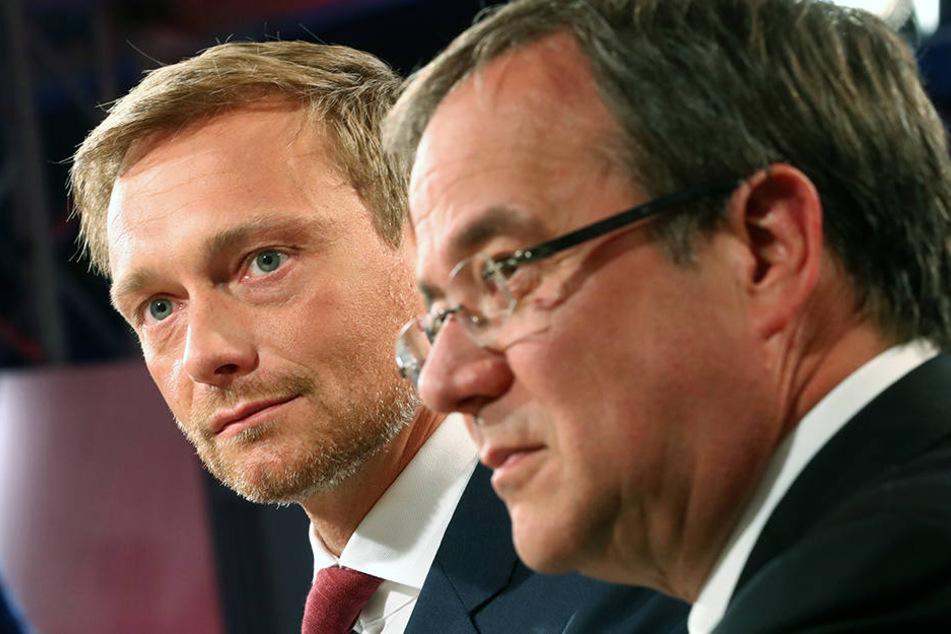 Finden CDU und FDP zueinander? Christian Lindner (FDP, hi.) und Armin Laschet (CDU, vo.) sind nicht ihre erste Wahl.