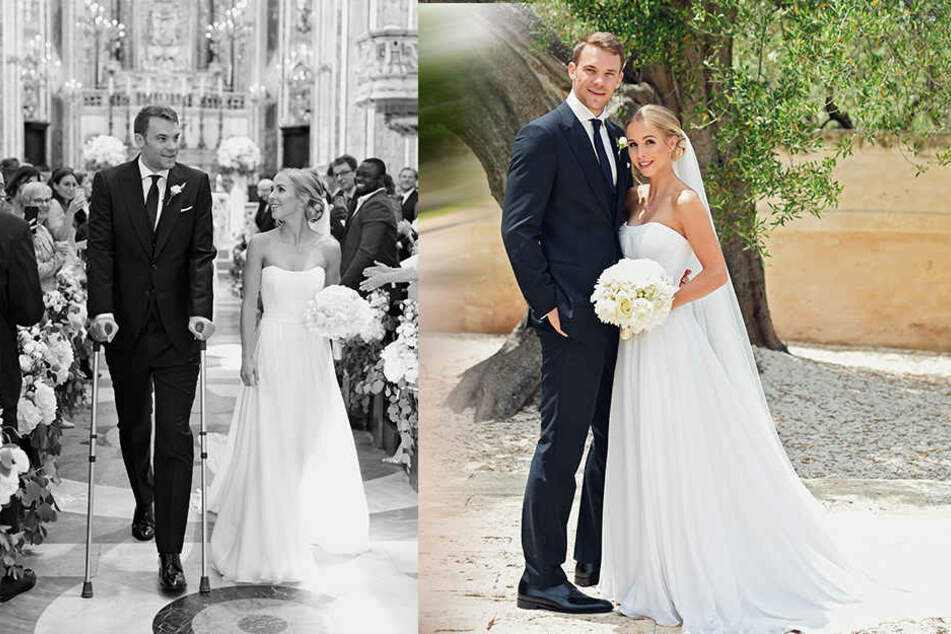 Hier kurz nach der kirchlichen Hochzeit am Freitag in Monopoli: Nina und Manuel Neuer.