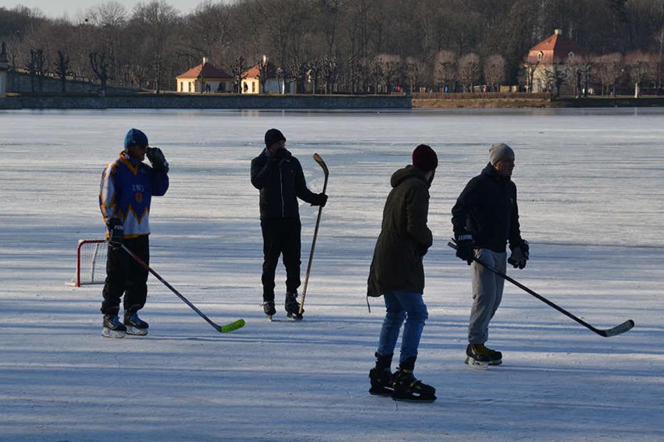 Lebensgefährliche Aktion! Auf dem zugefrorenen Teich vor Schloss Moritzburg tummelten sich Hunderte Spaziergänger, Eisläufer und Hockeyspieler.