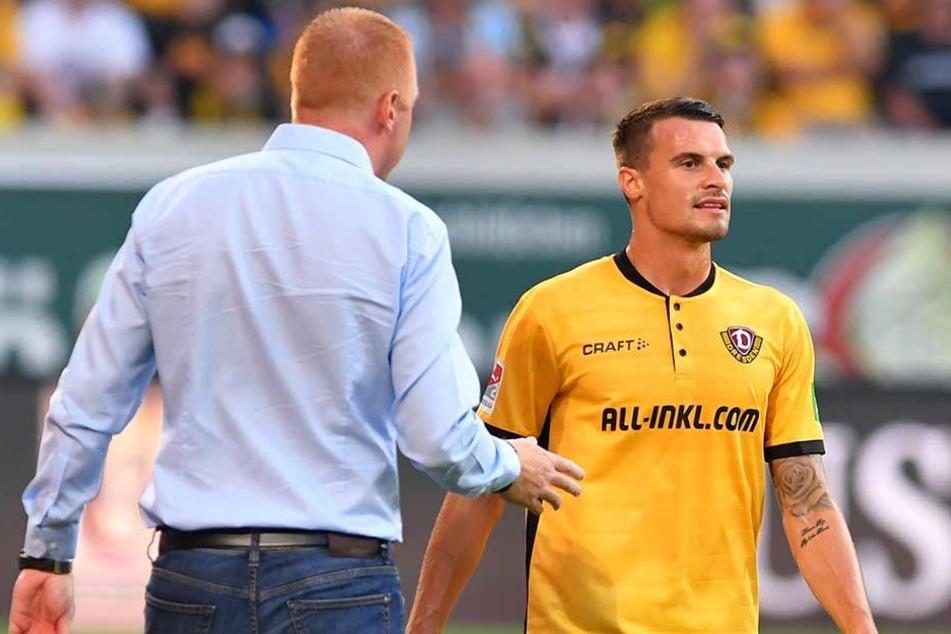 Die Gespräche zwischen Dynamo-Coach Maik Walpurgis (l.) und Verteidiger Philip Heise verliefen in den vergangenen Tagen nicht sehr harmonisch.