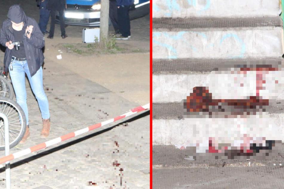Die Kriminalpolizei sicherte die Spuren des Messerangriffs.