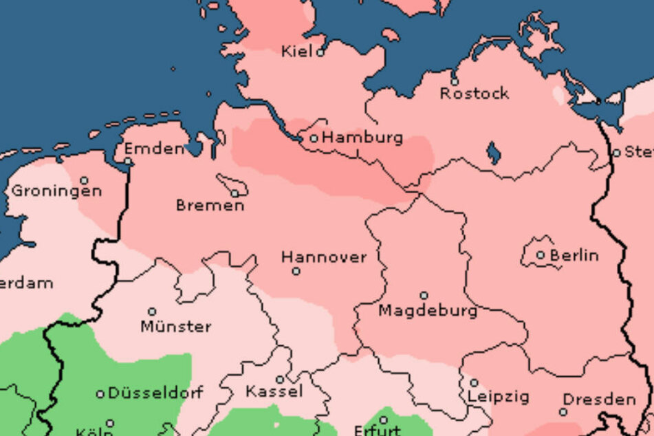 Die roten Flächen zeigen, wo es am Donnerstag besonders windig wird.