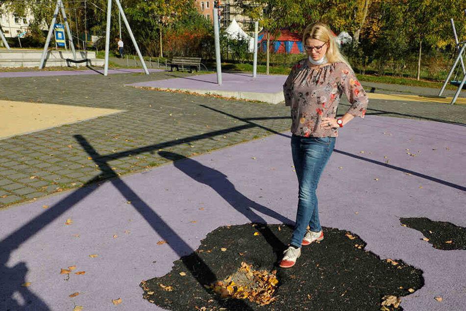 Linke-Stadträtin Susanne Schaper (39) ist sauer, dass die Spielplätze im Stich gelassen werden.