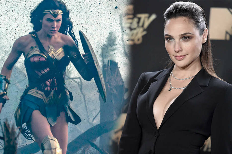 Links Wonder Woman in Action rechts Wonder Woman Darstellerin Gal Gadot mit tiefem Ausschnitt bei den MTV Movie Awards
