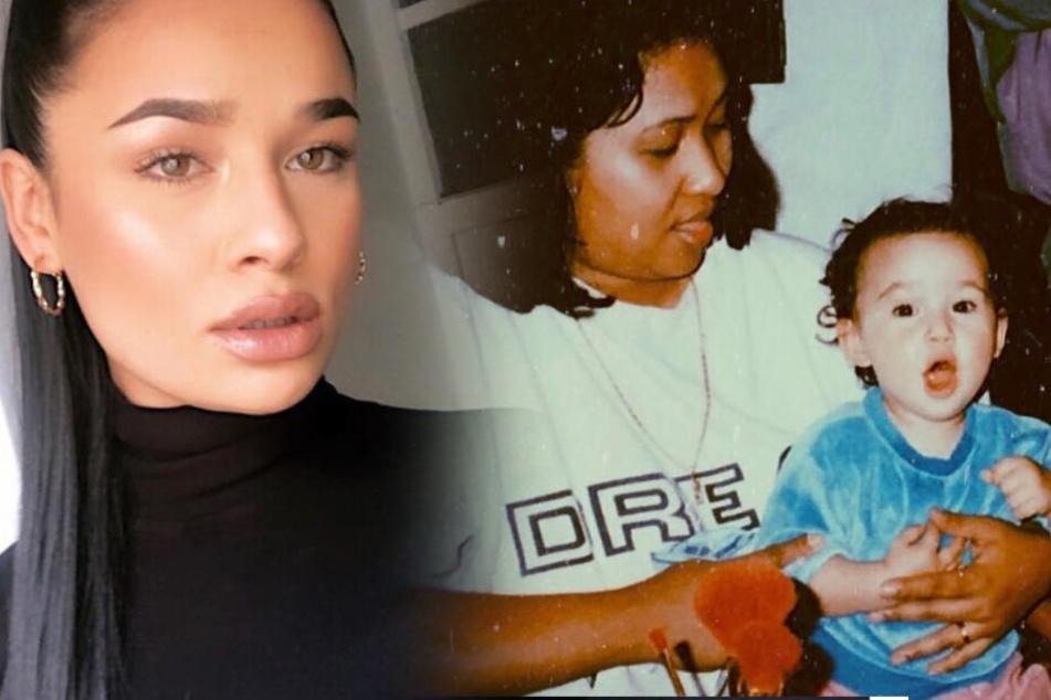 Die Sängerin als Kleinkind mit ihrer Mutter Teresa und heute (l.).