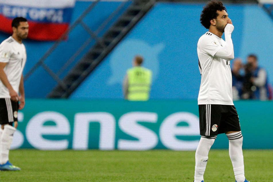 Superstar Mo Salah (26), rechts, konnte die ägyptische Niederlage nicht verhindern, erzielte aber den Ehrentreffer.