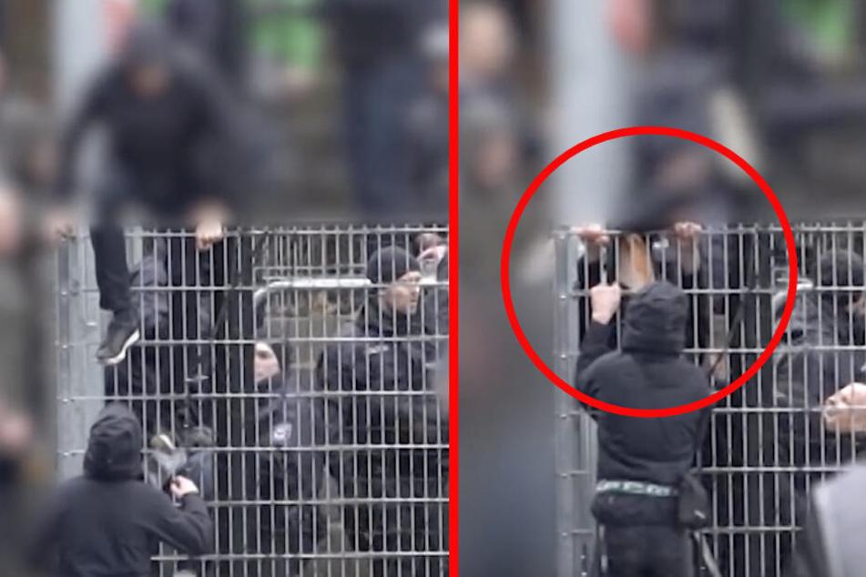 Der Unbekannte blieb mit dem Bein am Zaun hängen.