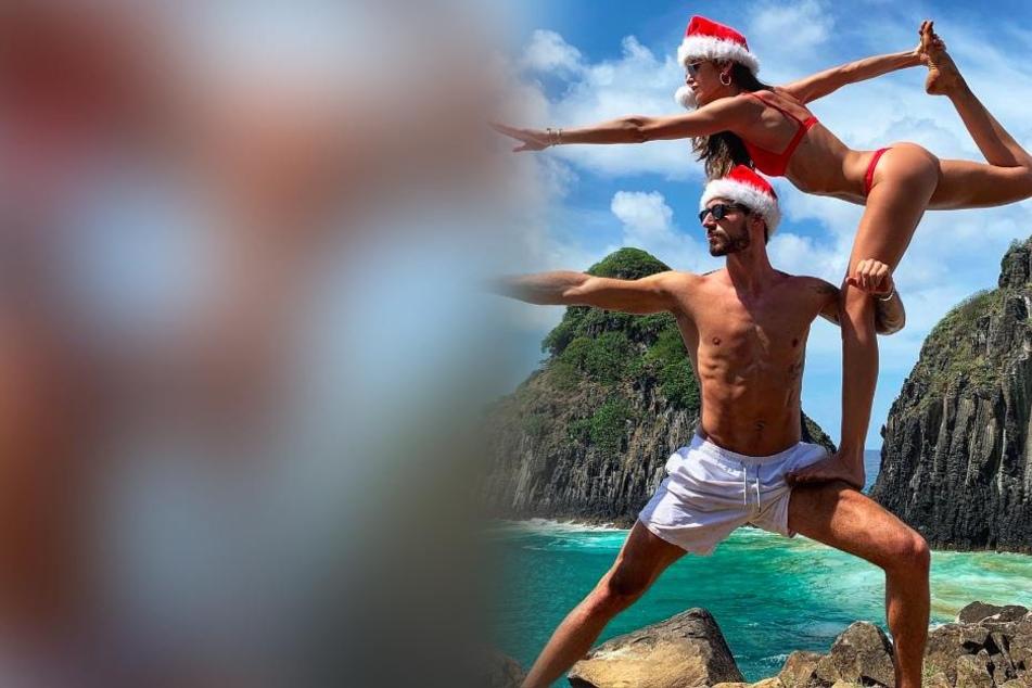 Bei den beiden knackigen Strandschönheiten handelt es sich um Eintracht-Keeper Kevin Trapp und seine Verlobte, Model Izabel Goulart.