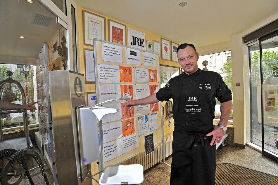 Hotelier Benjamin Unger (41) vom Blauen Engel in Aue kritisiert das Beherbergungsverbot mit Testvorlage als unmöglichen Aufwand.
