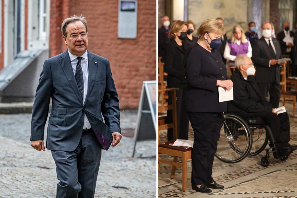 Ministerpräsident Armin Laschet (60) und Kanzlerin Angela Merkel (67, beide CDU) haben sich zum Gedenkgottesdienst für die Opfer der Flutkatastrophe in Aachen versammelt.