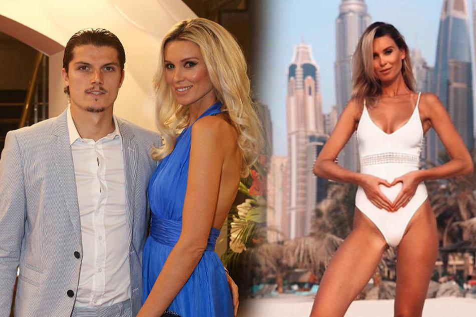 Katja und ihr Marcel auf einer Veranstaltung im August (li.). Im November gab sie mit diesem Bild im weißen Badeanzug (re.) die Schwangerschaft bekannt.