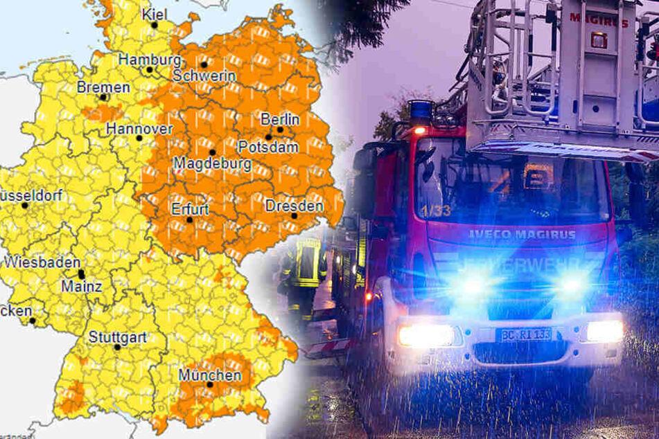 Der Deutsche Wetterdienst ruft Warnstufe 2 für einige Teile Deutschlands aus!