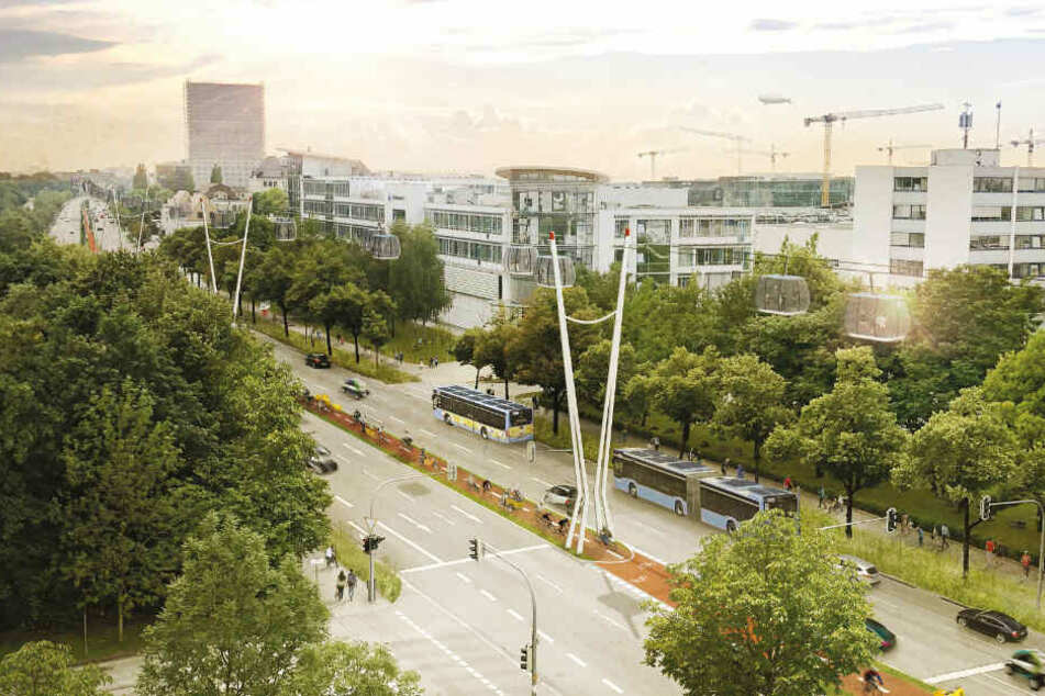 München könnte bald eine Seilbahn als Teil des öffentlichen Nahverkehrs bekommen. (Darstellung)