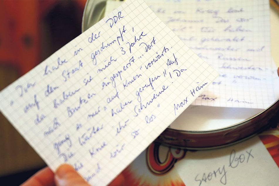 """Heike Hartmann regte an, dass jeder Mitarbeiter vom Haus """"Hirschgrund"""" auf kleinen Zetteln Erinnerungen der Bewohner aufschreibt und mit ihnen die Storybox füllt."""