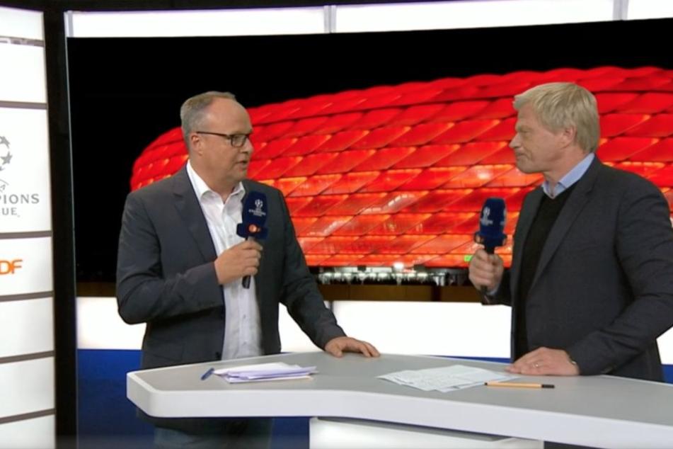 Oliver Kahn (re.) hat sich im ZDF bei Moderator Oliver Welke (li.) positiv über RB Leipzig geäußert.