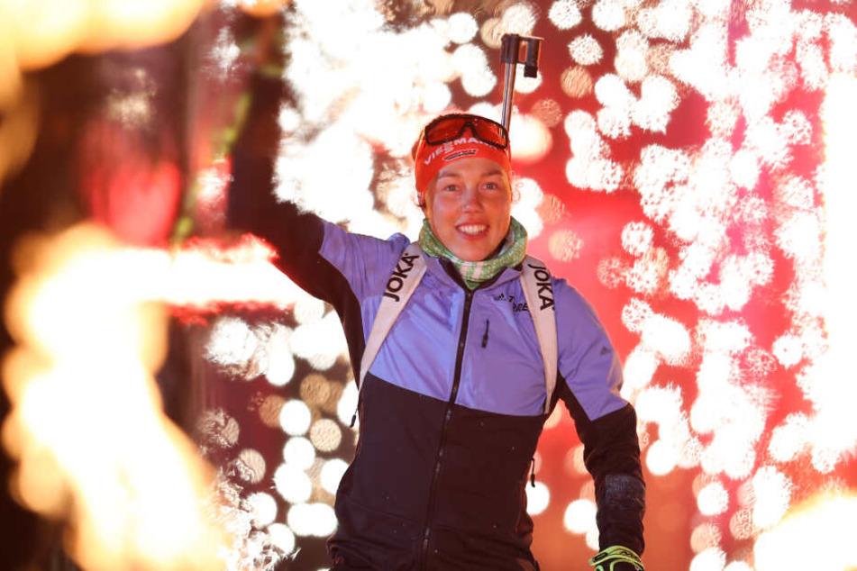 Die Wintersportlerin hatte sichtlich Spaß.