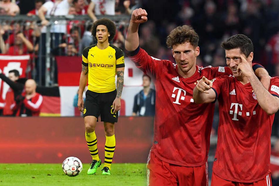 Bayerns Leon Goretzka (M.) und Robert Lewandowski (r.) bejubeln das Tor zum 5:0-Endstand, während BVB-Sechser Axel Witsel nicht fassen kann, was in diesem Spiel passiert ist. (Bildmontage)