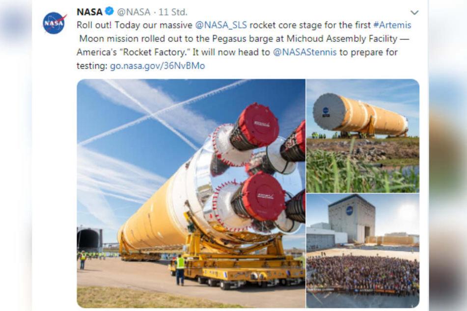 Ein Tweet der NASA zeigt die beeindruckenden Dimensionen der Kernstufe.