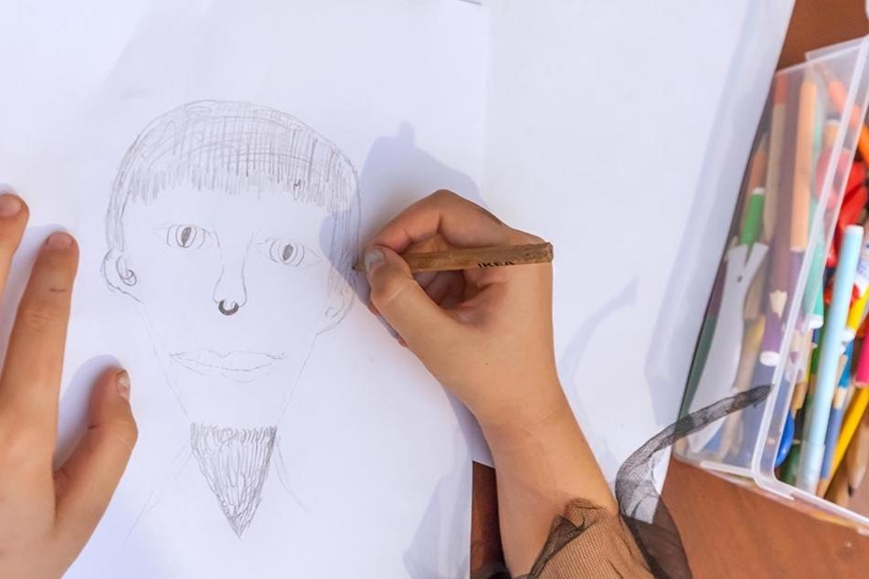 So zeichnete die Grundschülerin den Mann, der versuchte, sie in sein Auto zu ziehen.