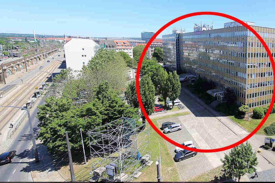 Für das neue Viertel muss dieser alte Bürokomplex abgerissen werden.