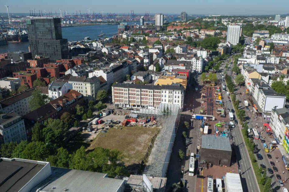 Blick auf das ehemalige Esso-Häuser-Areal und das künftige Paloma-Viertel zwischen dem Hafen und der Reeperbahn.