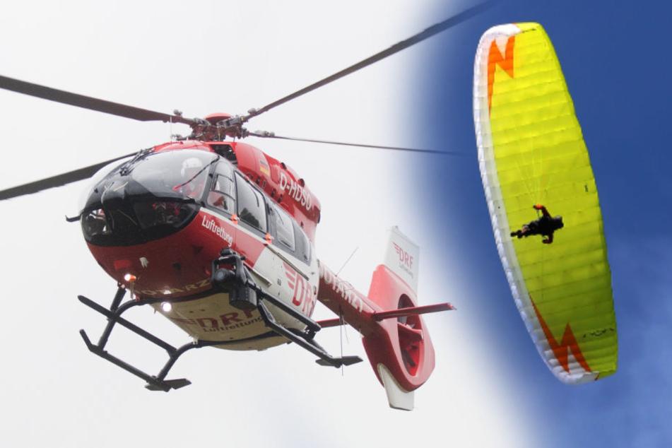 Der Gleitschirmflieger wurde wurde mit einem Rettungshubschrauber ins Krankenhaus gebracht. (Symbolbild)