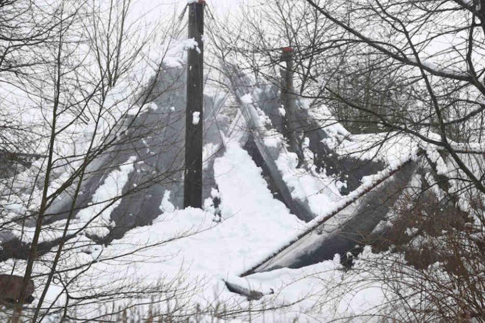 Die Netze der Volieren konnten den matschigen Schneemassen im Vogelpark Marlow nicht standhalten.