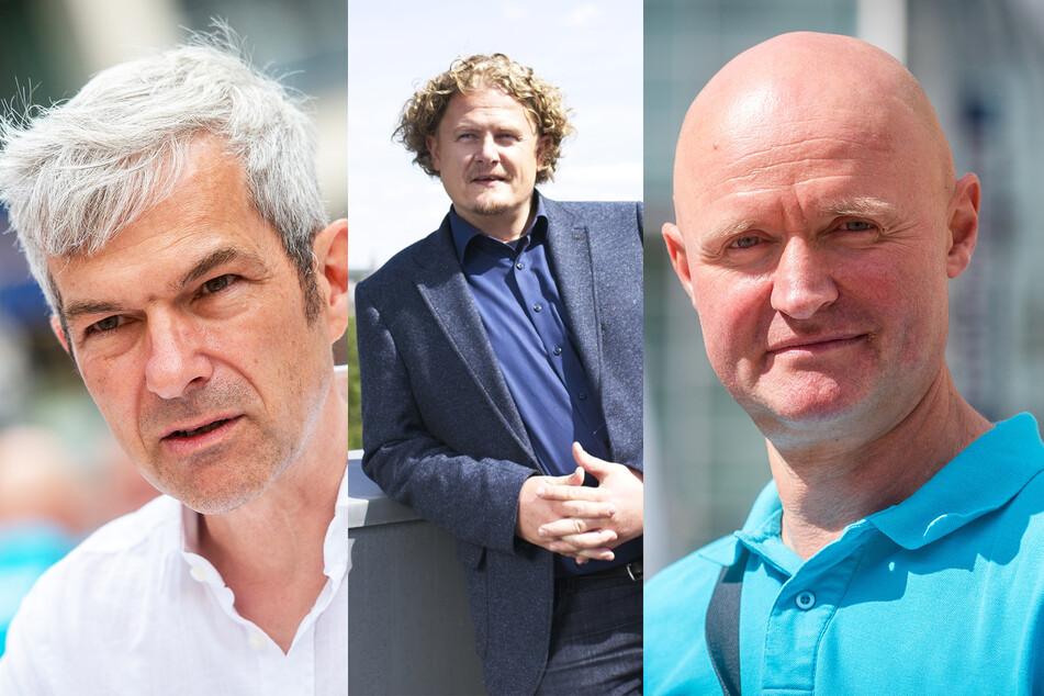 v.l.n.r.: Volkmar Zschocke (51, Grüne), Lars Faßmann (43, parteilos) und Matthias Eberlein (50, Freie Wähler).