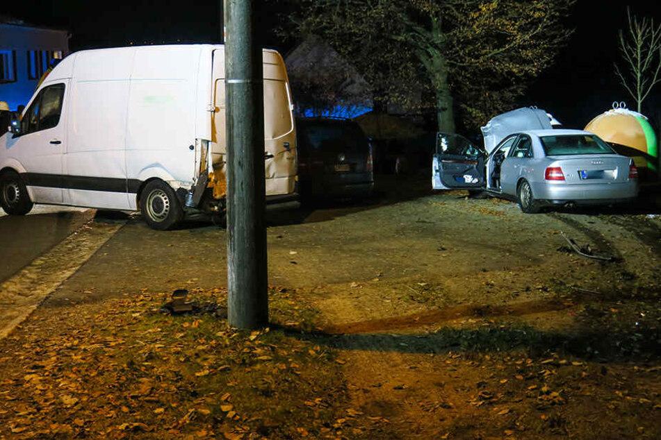 Ein Transporter wurde vom Audi gerammt und fünf Meter beiseite geschoben.