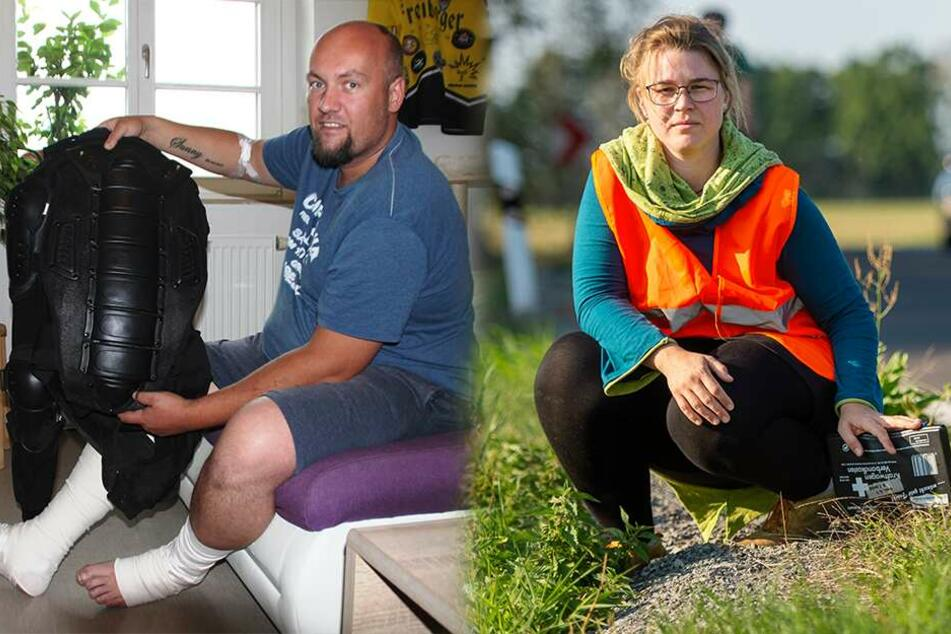 Dresden: Nur wenige Tage nach ihrem Kurs: Ersthelferin rettet Unfall-Biker