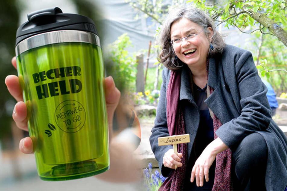 Umweltbürgermeisterin Eva Jähnigen (51, Grüne) will das Becherproblem mit Mehrwegbechern lösen.