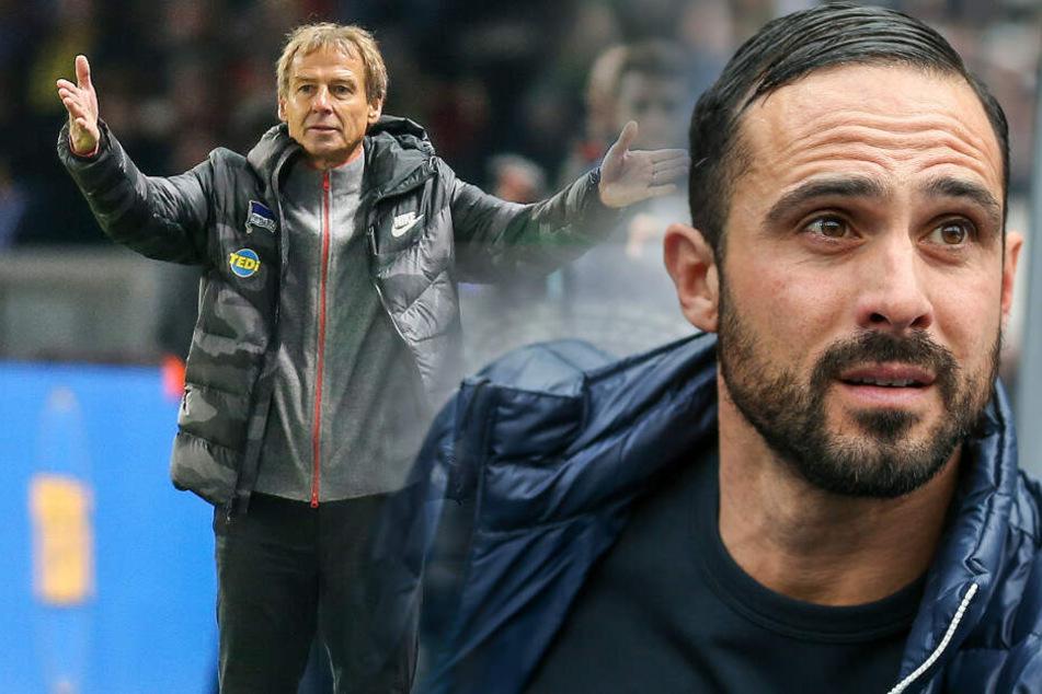 Klinsmann-Nachfolger Alexander Nouri (r) steht gegen Fortuna Düsseldorf unter Druck.