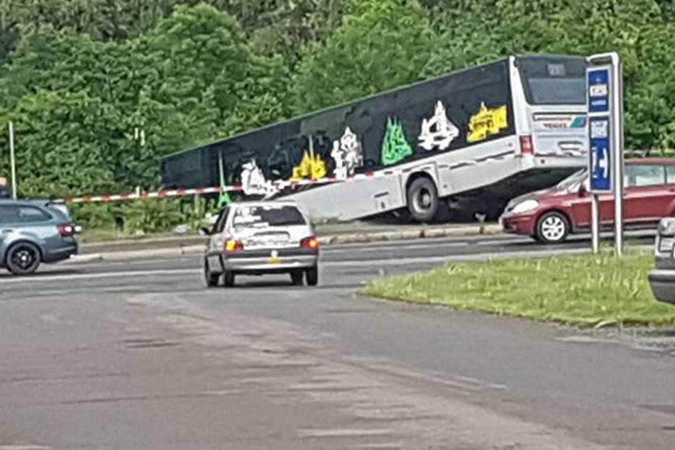 Der Bus fuhr über den Bordstein und die Böschung herunter.