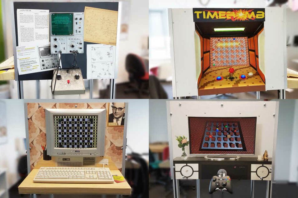 Alle vier Seiten des Spiele-Würfels verwenden das für die jeweilige Zeit typische Gerät und Design.